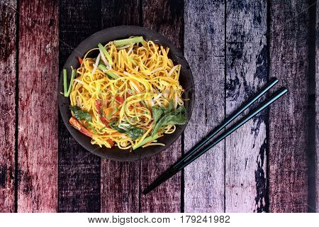 Auspicious food festival of Chinese peopleFried Chinese noodle with vegetableOrganic food. Sacred foods to give a better life of the Chinese people.