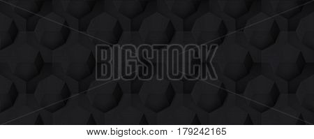 Volume realistic seamless dark texture, octahedron, black 3d geometric pattern, design vector background