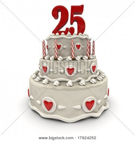 3D rendering of a multi-tiered cake with a number twenty-five on top