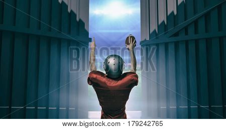 Rear view of American football player with arms raised against football pitch with lights and flags 3d