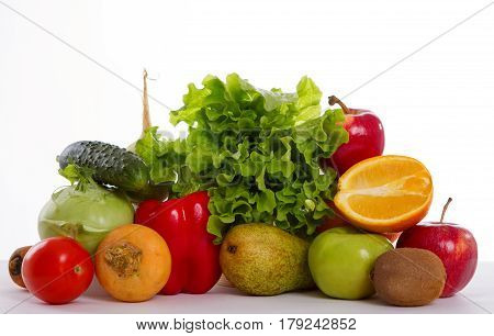 Fruits and vegetables in isolation. healty food