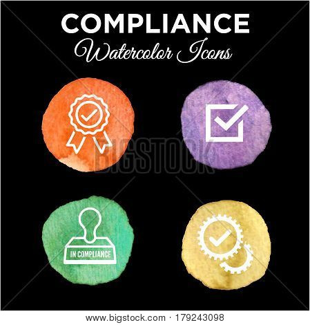 In Compliance Icon Set - Outline - Watercolor