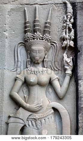 Ancient Reliefs At Angkor Wat Temple, Cambodia