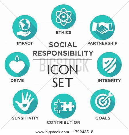 Social Responsibility Solid Icon Set
