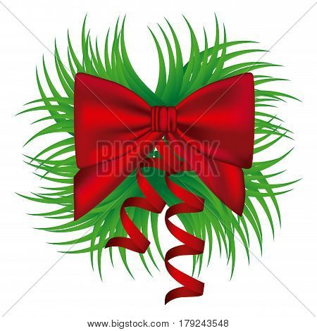 ornament decorative pine arch with silk shiny red ribbon vector illustration