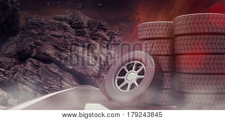 Rows of tyres against dark road landscape 3d