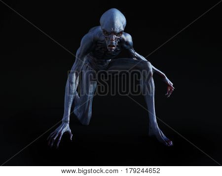 Portrait of an alien creature crouching and looking very angry ready to attack 3D rendering. Black background.