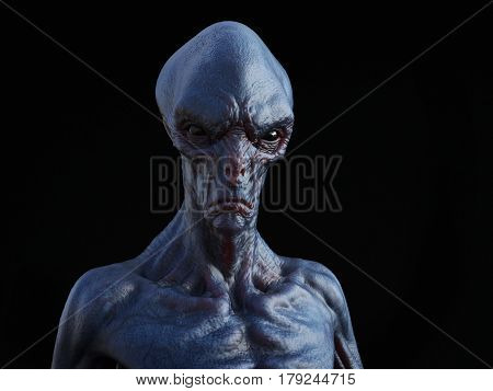 Portrait of an alien creature 3D rendering. Black background.