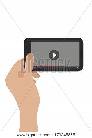Hand Holding Mobile Phone. Vector. Isolated On White. Video Player Concept.