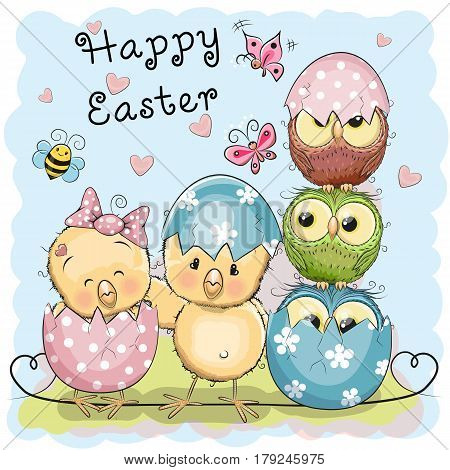 Greeting Easter card Two Chicks and Owls