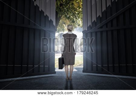 Back turned businesswoman holding a briefcase against scenic backdrop 3d