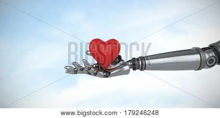 3d image of cyborg holding heard shape decoration against blue sky with clouds 3d