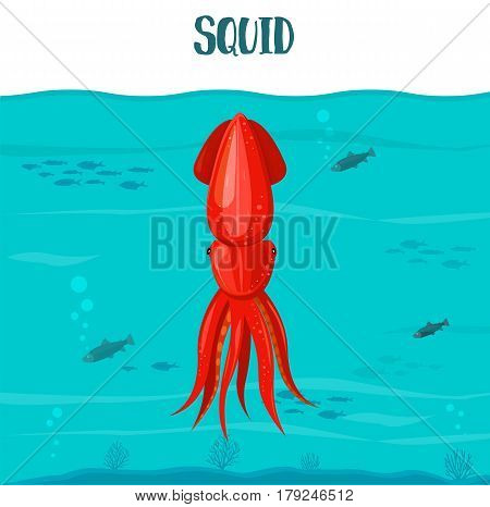 Squid Icon. Vector Illustration. Red Squid Isolated On Blue Water Background. Seafood. Squid In Sea.