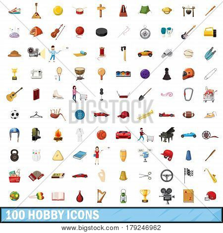 100 hobby icons set in cartoon style for any design vector illustration