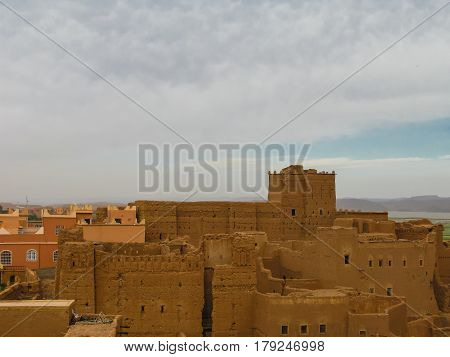 View to Ouarzazate old city aka Taourirt kasbah in Morocco
