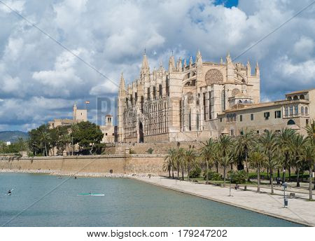 PALMA DE MALLORCA, SPAIN - MARCH, 2017: Famous Cathedral La Seu in Palma de Mallorca