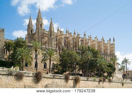 PALMA DE MALLORCA, SPAIN - MARCH, 2017: Famous Cathedral La Seu in Palma de Mallorca