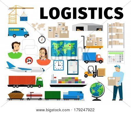 Logistics vector elements isolated on white background. Worker and transport, warehouse distribution and work fulfillment center. Aircraft and train, ship and container box illustration