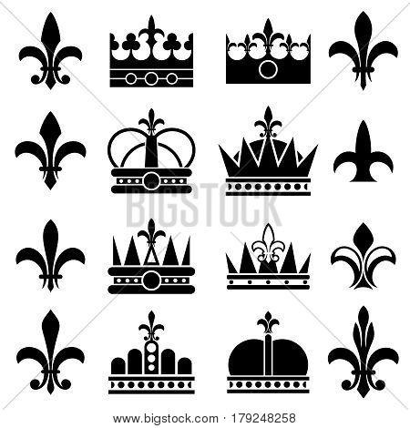 Crown and fleur de lis, lily flowers royal vector icons. Black silhouette crown and fleur-de-lis illustration