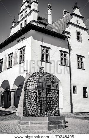 Cage of shame in historic UNESCO centre of town Levoca Slovakia