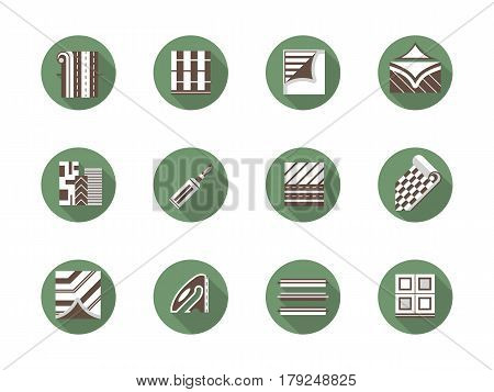 Tools and materials for linoleum flooring. Floor renovation concept, construction and building. Collection of stylish flat green round vector icons.