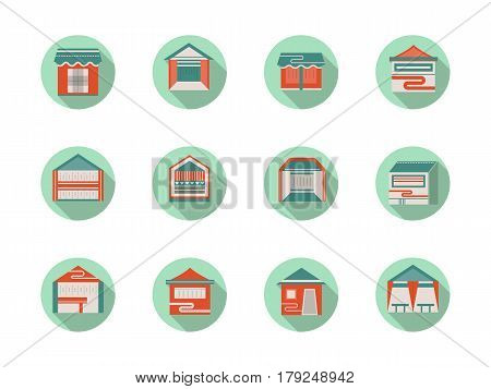 Kiosk and marquees, commercial tents and exhibition pavilions. Folding and mobile structures for street trade or promotion events. Collection of stylish flat color round vector icons.