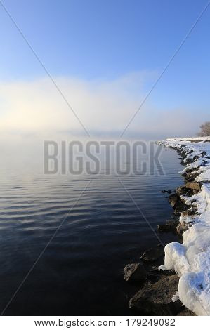 Dense Fog Over The River