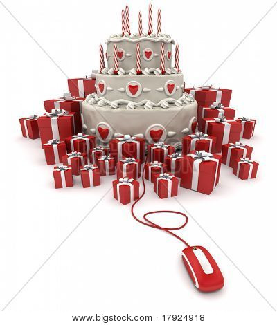3D rendering of a three tiered cake with candles surrounded by gift boxes connected to a computer mouse