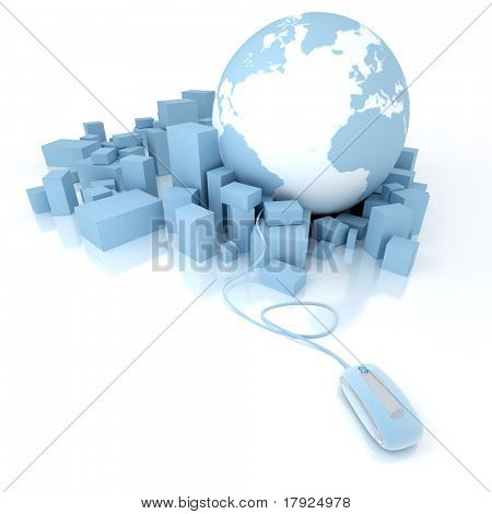 3D rendering of the Earth ,Atlantic oriented, and a heap of blue boxes connected to a computer mouse