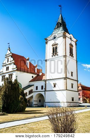 Historic renaissance building of town hall in city Levoca Slovakia