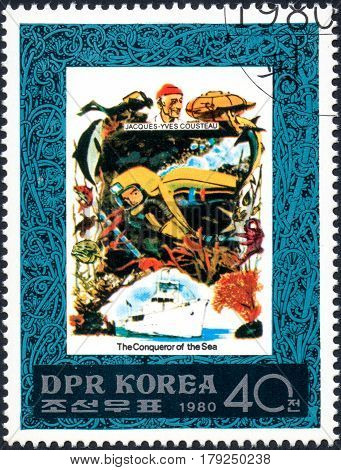 UKRAINE - CIRCA 2017: A postage stamp printed in DPR North Korea shows Jacques Cousteau serie The Conqueror of the Sea circa 1980