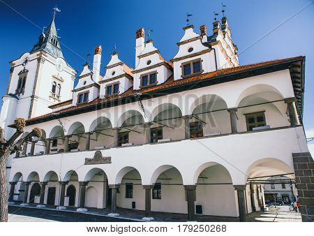 LEVOCA SLOVAKIA - MARCH 19: Historic town hallcentre of town on March 19 2017 in Levoca
