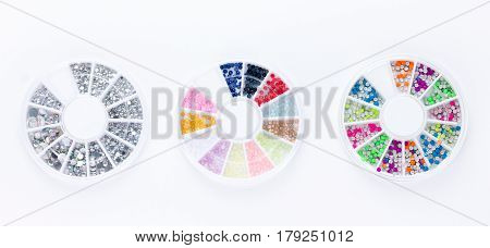 Set of nail art decorations isolated on white background