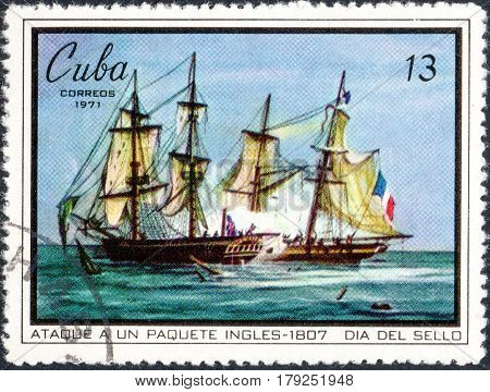 UKRAINE - CIRCA 2017: A postage stamp printed in Cuba shows naval battle of 1807 year serie Seal Day circa 1971