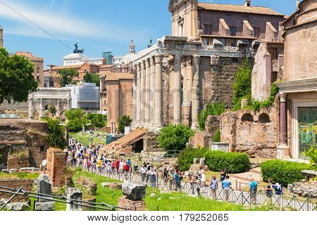 ROME, ITALY - MAY 10, 2014: Roman Forum. It is an important monument of antiquity and is one of the main tourist attractions of Rome.