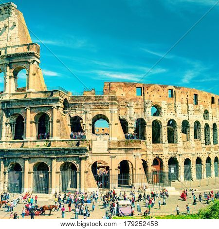ROME - MAY 10, 2014: Colosseum (Coliseum), Italy. The Colosseum is an important monument of antiquity and is one of the main tourist attractions of Rome.