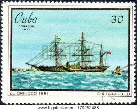 UKRAINE - CIRCA 2017: A postage stamp printed in Cuba shows Sailing vessel El Orinoco 1851 serie Seal Day circa 1971