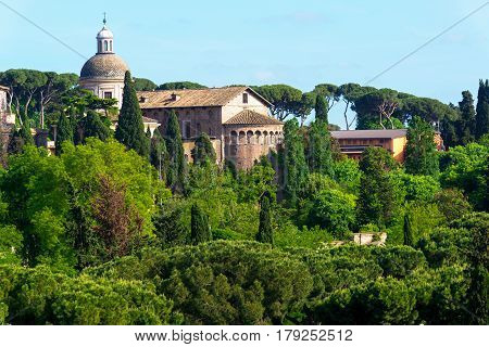 Cityscape near the Palatine Hill in the center of Rome, Italy