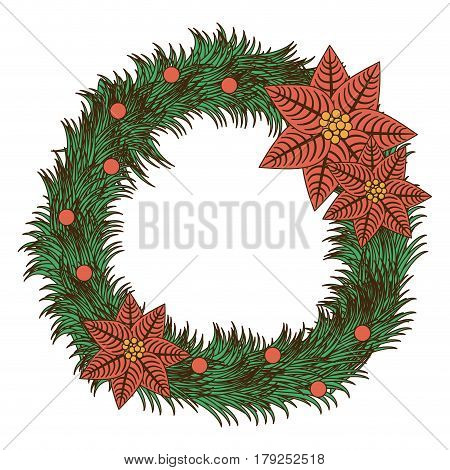 opaque color pine arch with poinsettia christmas flowers vector illustration