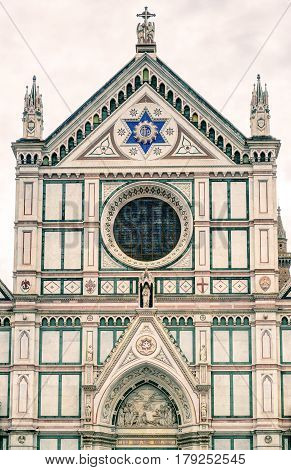 The Basilica di Santa Croce (Basilica of the Holy Cross) built in the 15th century in Florence, Italy