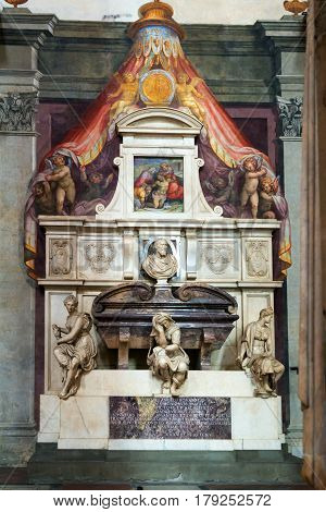FLORENCE, ITALY - MAY 11, 2014: Tomb of Michelangelo in the Basilica of Santa Croce in Florence.