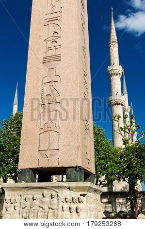 The Obelisk of Theodosius and minarets of the Blue Mosque in Istanbul, Turkey. This is the ancient egyptian obelisk of Pharaoh Tutmoses III re-erected by the Roman emperor Theodosius I in the 4th cent.