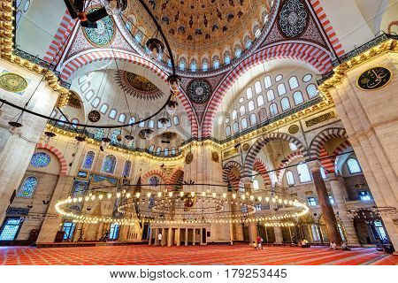 ISTANBUL, TURKEY - MAY 25, 2013: Inside the Suleymaniye Mosque. The Suleymaniye Mosque is the largest mosque in the city and one of the best-known sights of Istanbul.
