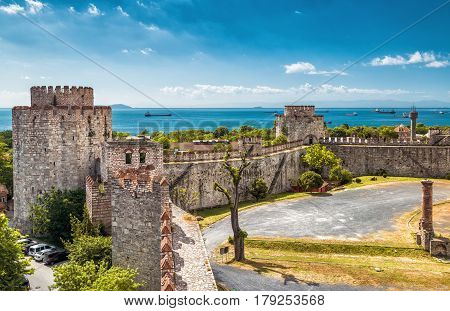 The Yedikule Fortress in Istanbul, Turkey. Yedikule fortress, or Castle of Seven Towers, is the famous fortress built by Sultan Mehmed II in 1458.