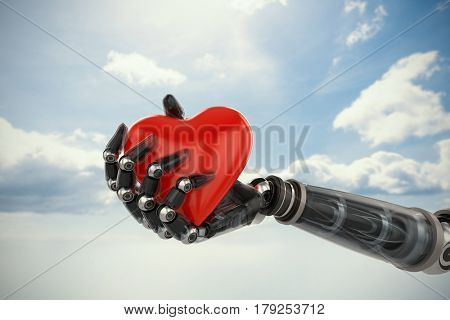 Three dimensional image of cyborg holding red heart shape decoration against blue sky 3d