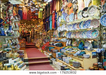 ISTANBUL - MAY 27, 2013: A variety of oriental items offered for sale at the Grand Bazaar. The Grand Bazaar is the oldest and the largest covered market in the world.