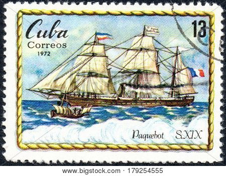 UKRAINE - CIRCA 2017: A postage stamp printed in Cuba shows sailing vessel of XIX century Paquebot circa 1972