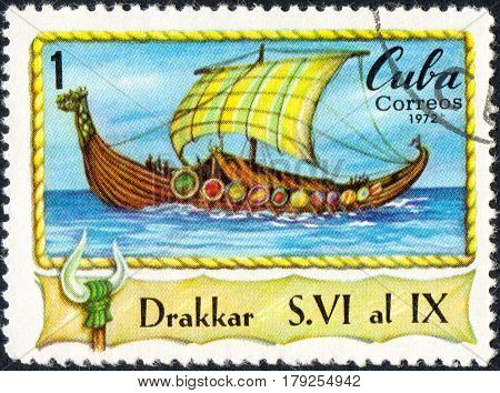 UKRAINE - CIRCA 2017: A postage stamp printed in Cuba shows Drakkar viking Boat circa 1972