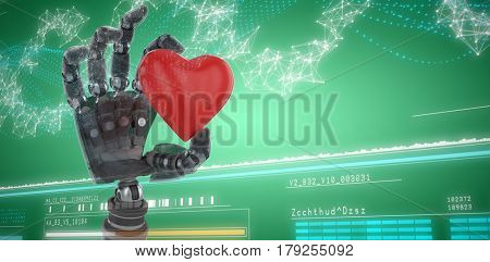 3d image of cyborg holding heard shape against genes diagram on white background