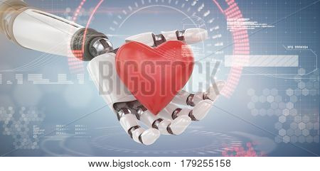 3d image of cyborg holding red heart shape decor against composite image of face